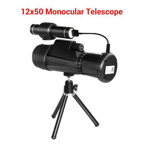 12x50 Wifi IR Infrared Night Vision Monocular Telescope + Tripod for Hunting